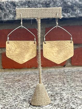 Locally Handmade Hexagon Earrings ~ in Copper or Brass