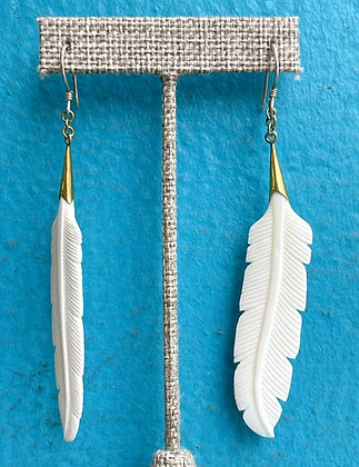 Hand Carved Feather Bone Earrings