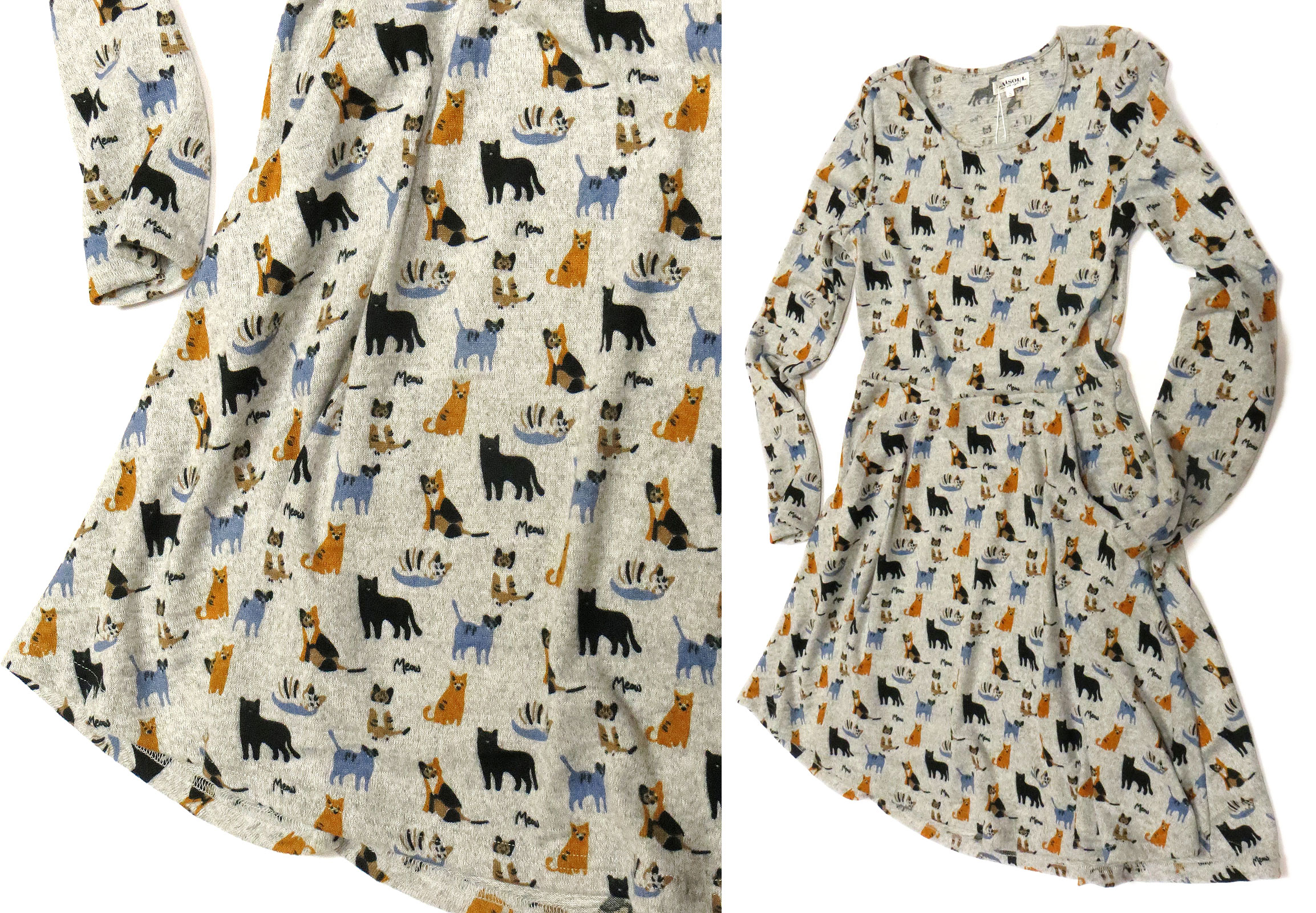 Cats Print Tunic Dress