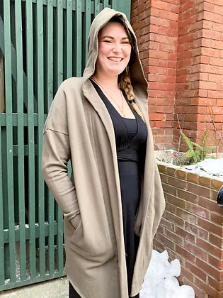 100% Cotton Long Hooded Cardigan