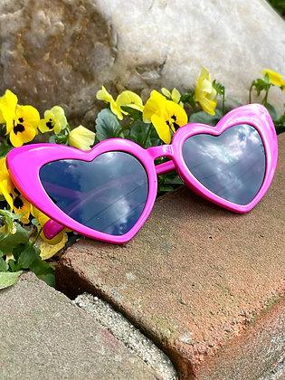 Pretty Pink Cat Eye Heart Glasses