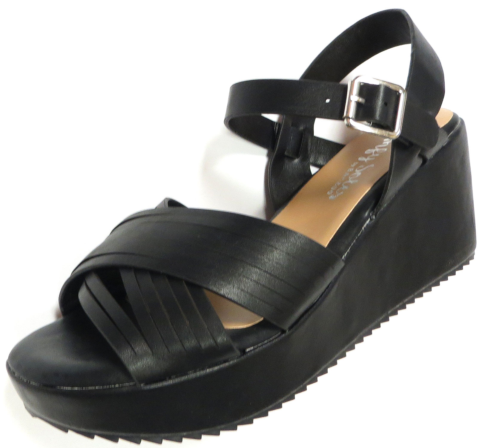 fc7a3471457e Black vegan leather platform sandal with cushioned insoles
