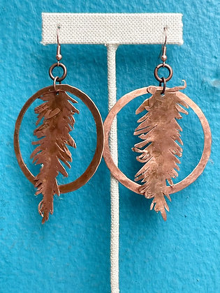 Locally Made Copper Feather Earrings