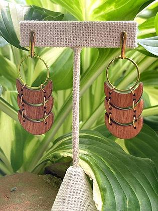 Triple Wood Crescent Chain Earrings