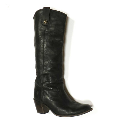 FRYE Leather Black Western Heeled Boots