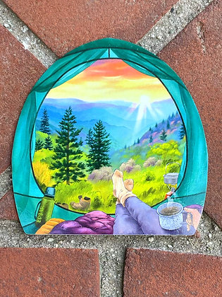 """""""Camping in the Mountains"""" Weatherproof Sticker"""