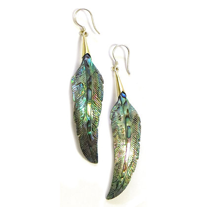NEW Abalone Shell Feather Earrings