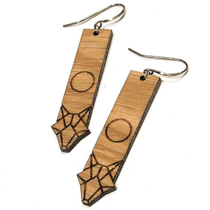 Laser Etched Geo Coyote Earrings