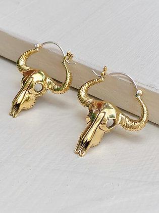 Handmade Brass Skull Earrings