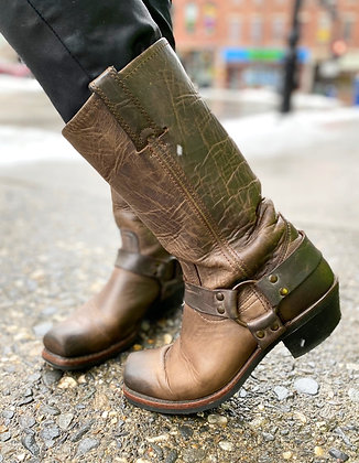 FRYE Distressed Harness Boots