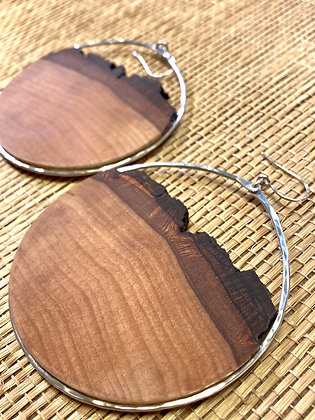 Large Handcut Basswood & Sterling Hoops