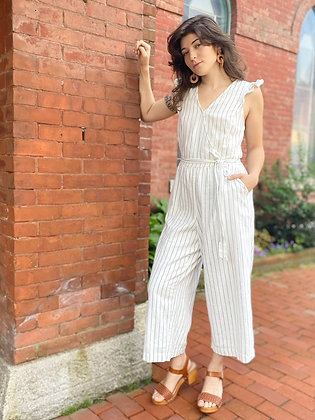 Old Navy Linen & Cotton Striped Jumpsuit ~ Size Medium