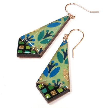 Wood Origami Hinged Earrings
