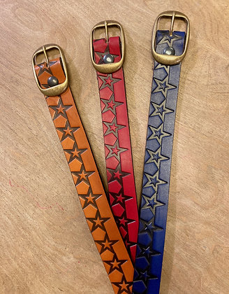 Hand-Tooled Star Power Belts
