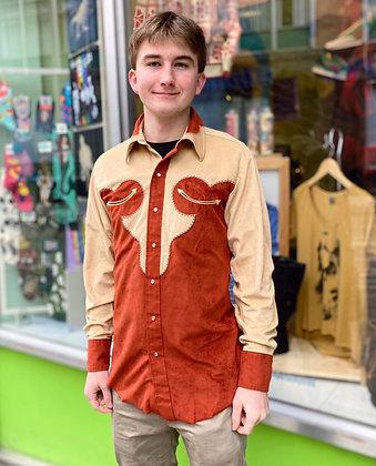 Men's Vintage 70's Faux Suede Western Shirt