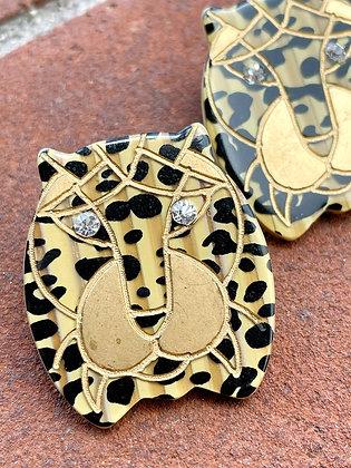 Vintage '80s Glam Leopard Earrings
