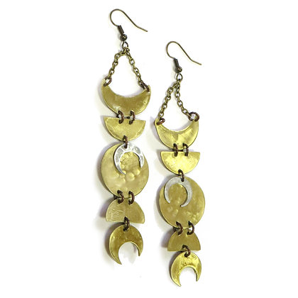 NEW Deluxe Mixed Metal Moon Phase Earrings