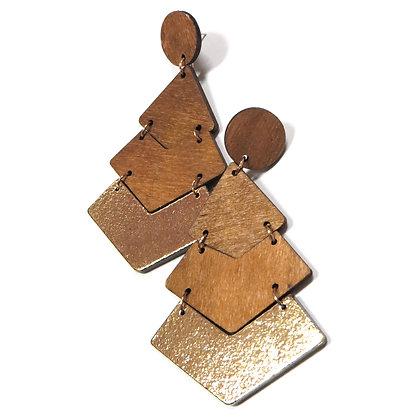 Large Wooden V Metallic Earrings