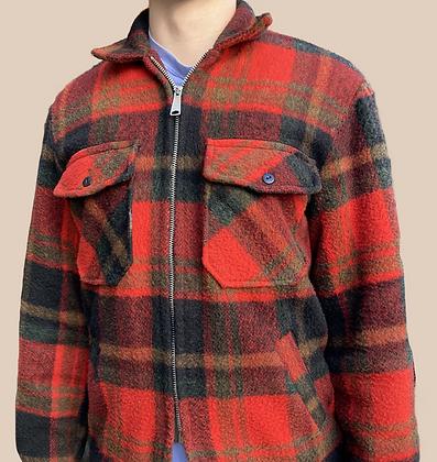 Men's Vintage 60's Plaid Zip Up Jacket