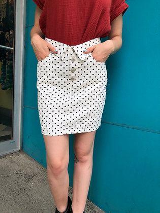 80s Feels Polka Dot Denim Mini Skirt