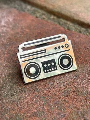 Boombox Silver Enamel Pin