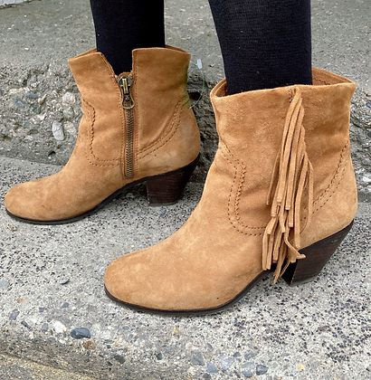 Sam Edelman Leather Suede Fringe Booties