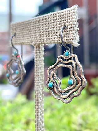 Vintage Sterling Turquoise Accented Swirl Earrings