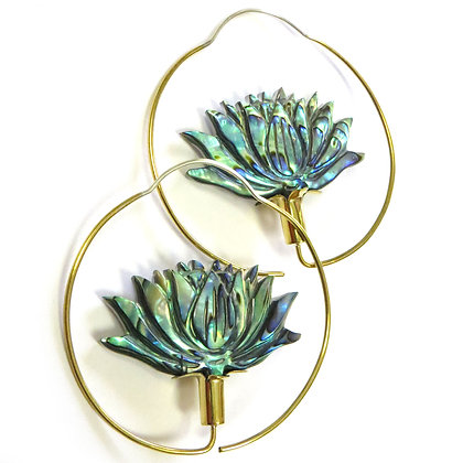 NEW Handcarved Abalone Shell Lotus Flower Hoops