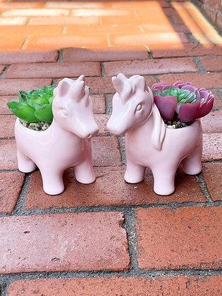 Unicorn Faux Succulent Planters