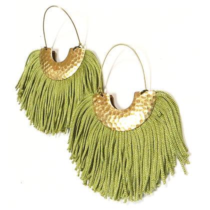 Sage Green BOHO Tassel Earrings