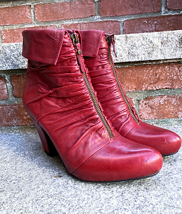 Earthies Red Leather Sexy Heeled Booties