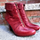 Thumbnail: Earthies Red Leather Sexy Heeled Booties