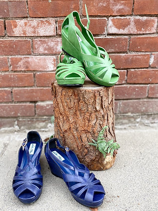 Lulu Hun Leather Wedge Sandals ~ Size 7.5