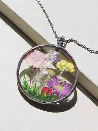 """""""Wildflower Patch"""" Stained Glass Statement Necklace"""