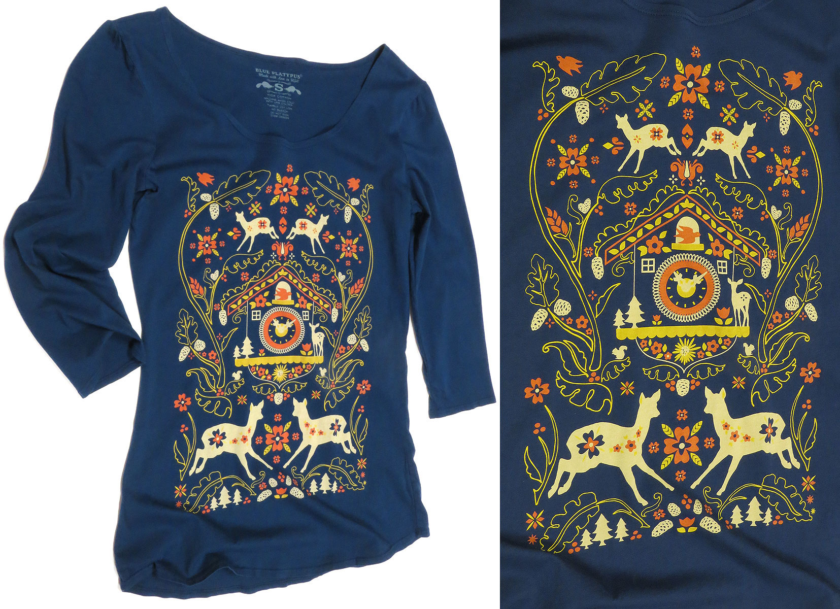Cuckoo Clock 3/4 Sleeve Top