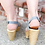 Thumbnail: Chunky Grey & Tan Wooden Platforms ~ Size 9