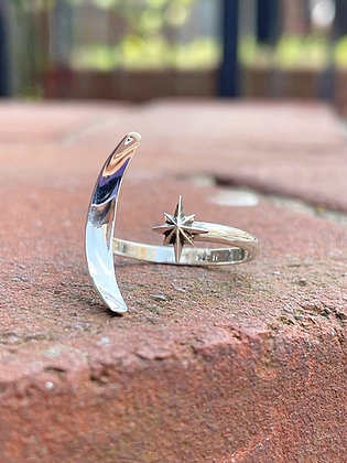 Celestial Moon & Star Adjustable Sterling Ring