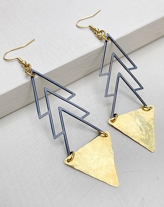 Black & Gold Triangle Drop Earrings