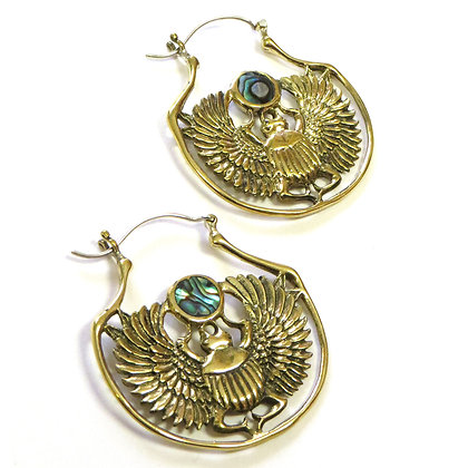 NEW Scarab Earrings Inlaid with Abalone Shell