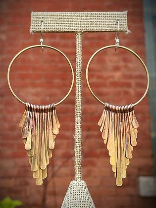 Locally Handmade Brass Fringe Hoop Earrings