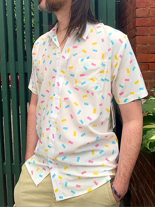 """""""Party Peeps"""" Summer Button-Up ~ Size Small"""