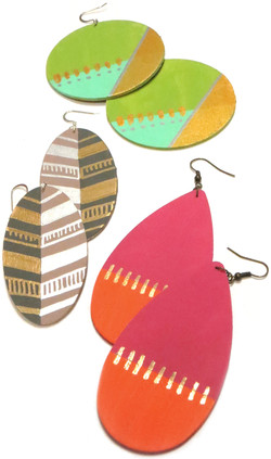Hand Painted Wood Earrings