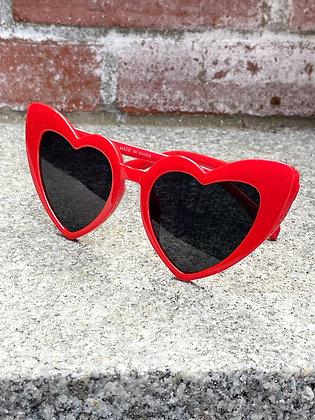 Sassy Red Cat Eye Heart Glasses