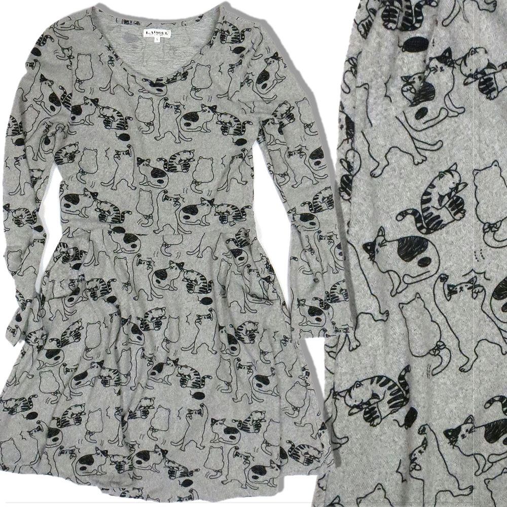 Stretch Knit Illustrated Cat Dress