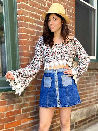 Crochet Trimmed Floral Rayon Crop Top
