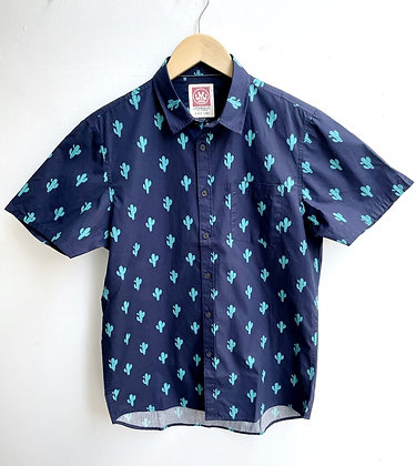 """""""Cactus Blues"""" Short-Sleeve Cotton Button-Down"""