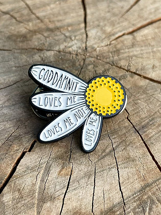 """They love me, They love me not..."" Enamel Flower Pin"
