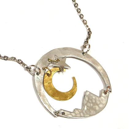 Mixed Metal Moonlit Mountain Necklace