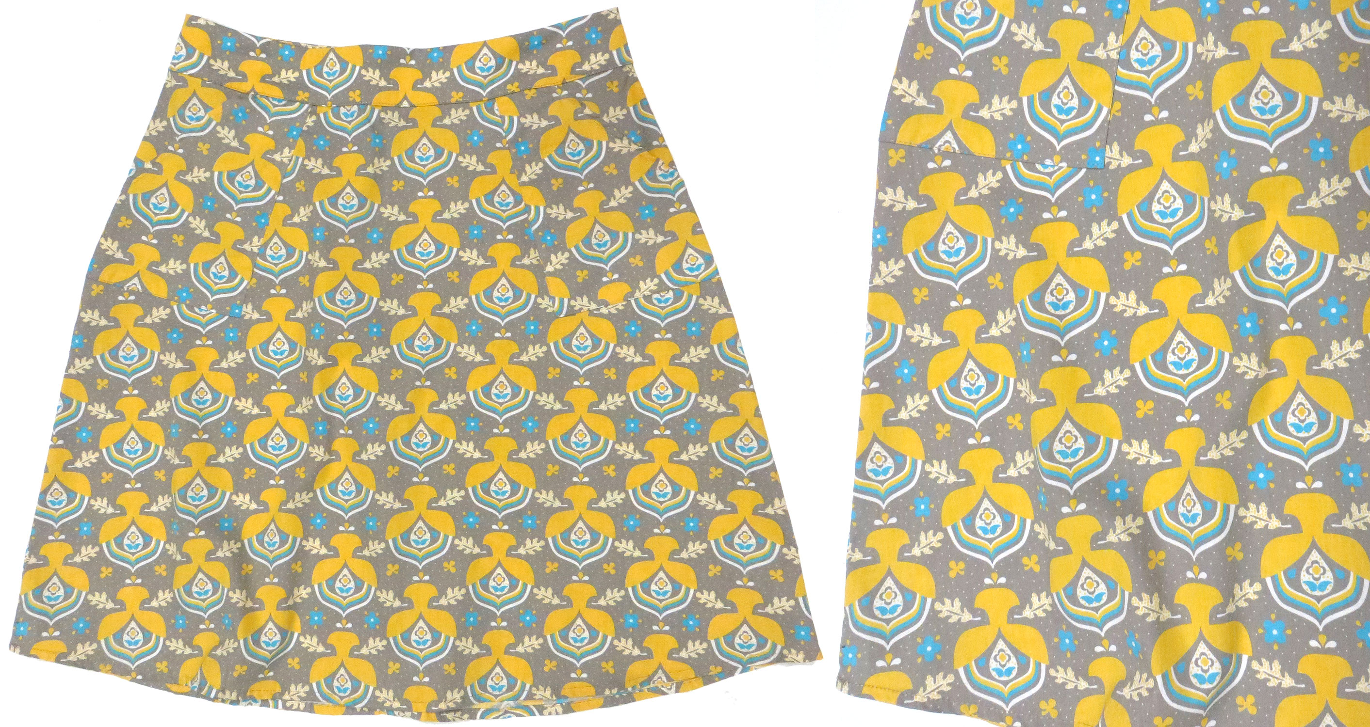 Gold & Gray Illustrated Skirt