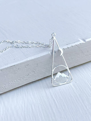 """""""Moonlit Mountainside"""" Rhodium/Sterling Necklace"""